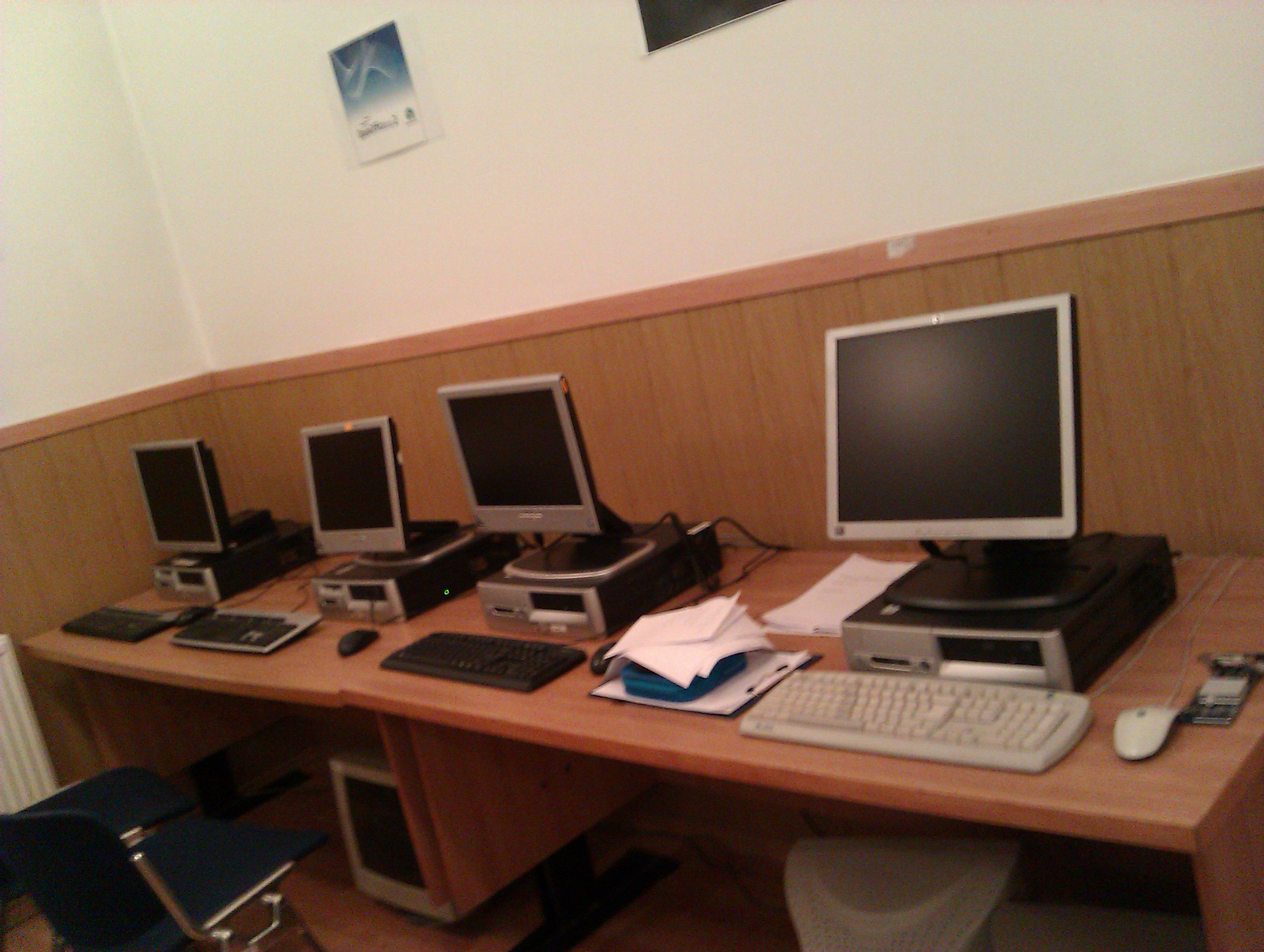 The computer lab with the old computers