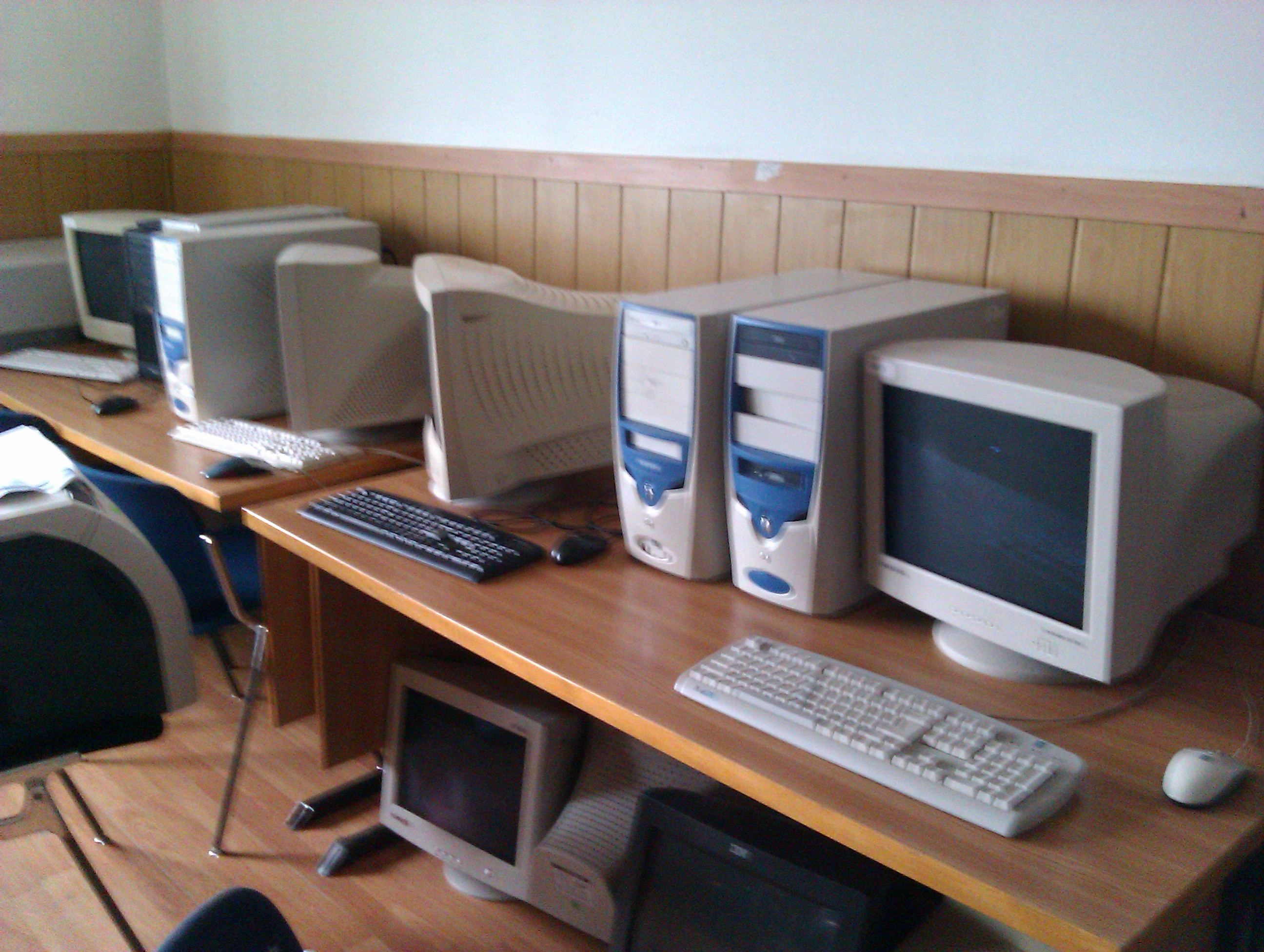 The computer lab with the old computers.